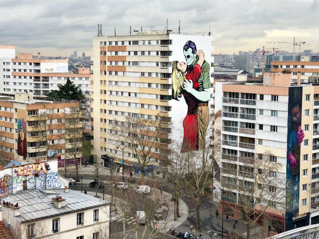 Photo des fresques de BTOY et D*Face pour Boulevard Paris 13