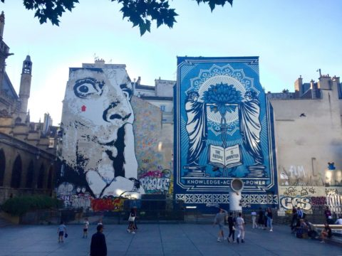Photo de la 100e fresque de Shepard Fairey