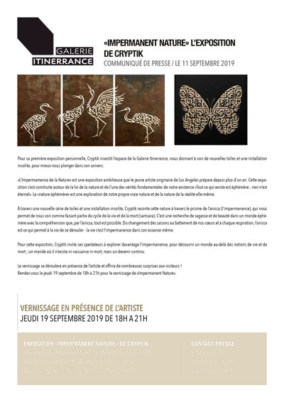 """Communiqué Presse """"Cryptik"""" Galerie Itinerrance"""