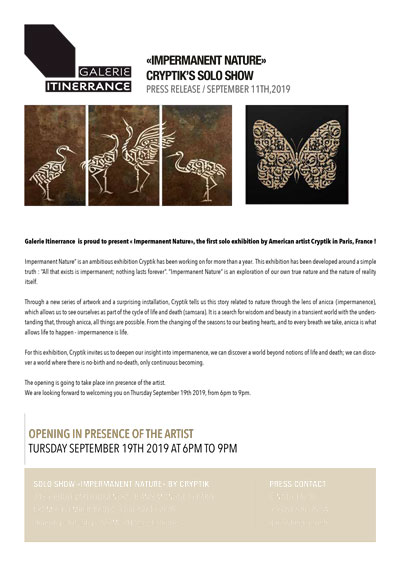 """Press Release """"Cryptik"""" Galerie Itinerrance"""
