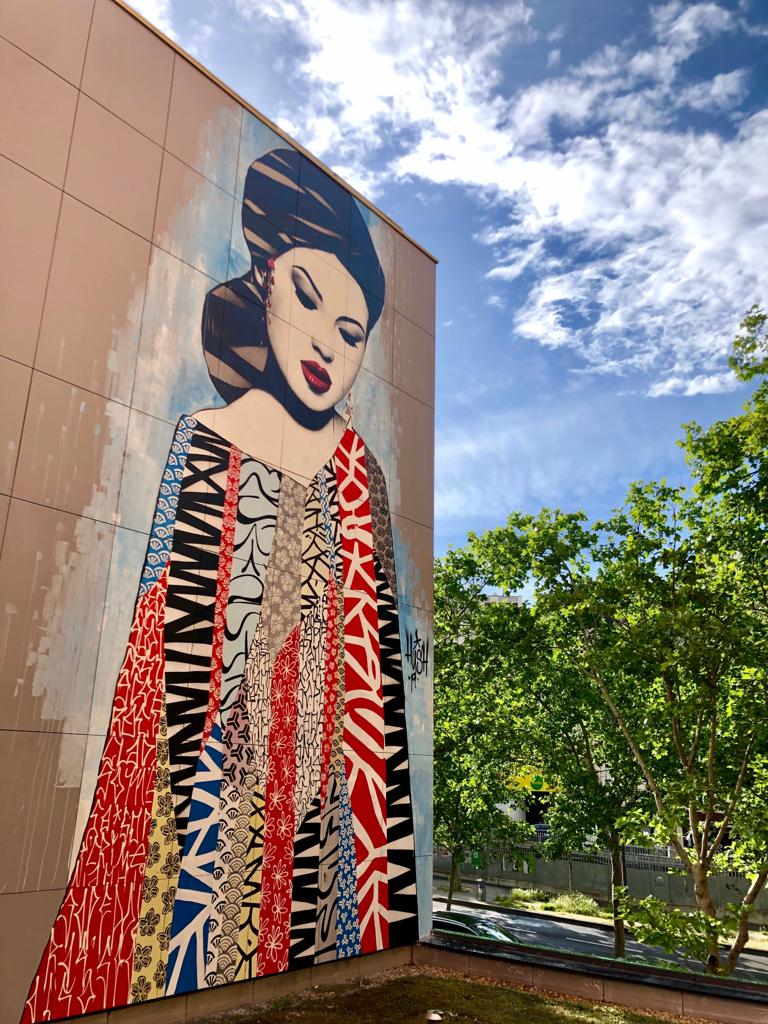 Photographie de la fresque de Hush au 169 Boulevard Vincent Auriol